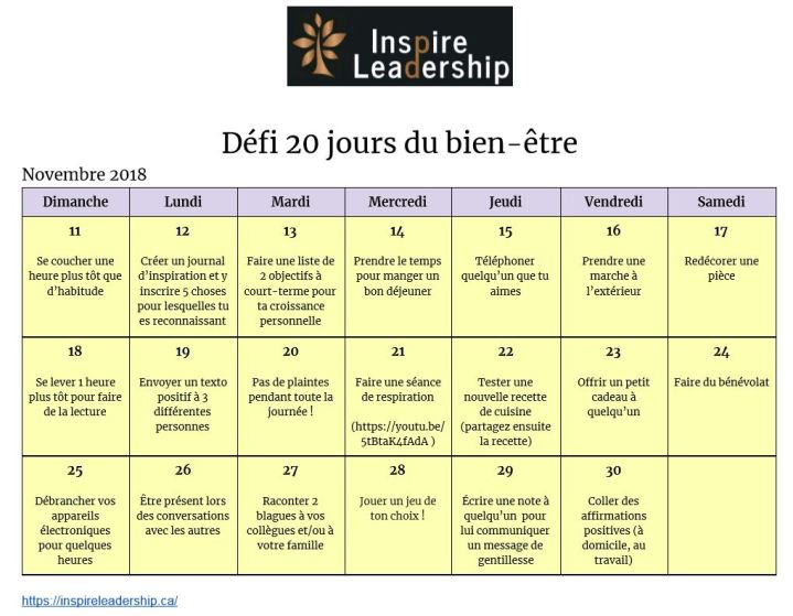 défis 20 jours